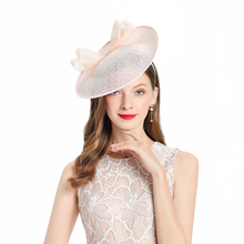 Fedoras Hat Pink Fascinator For Women Elegant Church Linen Headpiece Wedding Fashion Headwear Lady Party Formal Hair Accessories