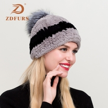 ZDFURS* Hot Selling Winter Real Rex Rabbit Fur Hat With Fox Pompom Women Elastic Knitted Hats