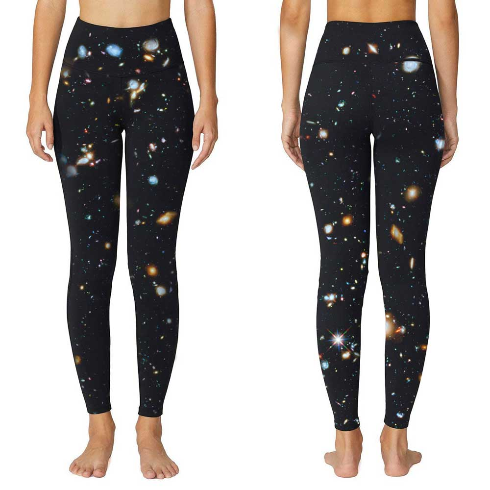 H45fb078b5c0643c2be669d25c6696c4fq Universe Galaxies Women's Digital Printed Yoga Capris High Waist Workout Pants Moisture Wicking Running Leggings