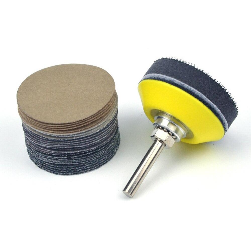 32Pcs 75mm Grit Silicon Carbide Sanding Discs+Backing Pad + Sponge Interface Pad
