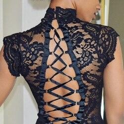 Lingerie sensual de renda transparente, completa, para mulheres, gola alta, costas nuas, roupa de dormir, roupa íntima, body erótico, macacão
