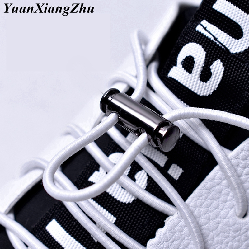1 Pair 16 Colors Elastic Shoelaces No Tie Shoe Laces Metal Lock Button Lazy Laces Kids Adult Quick Sneakers Shoelace Shoestrings