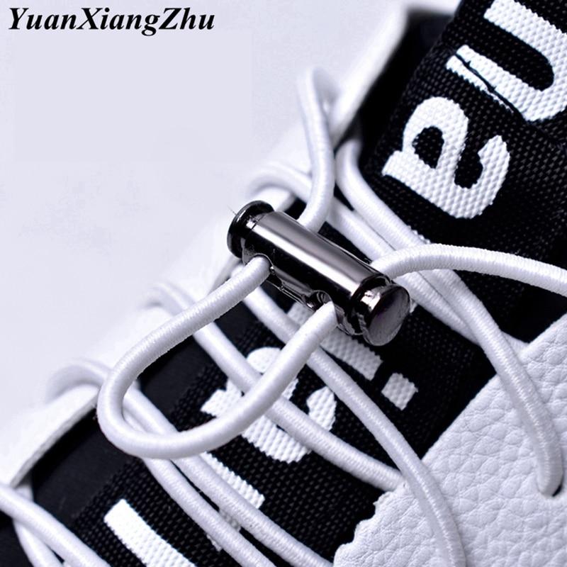 1 Pair 16 Colors Elastic Shoelaces No Tie Shoe Laces Metal Lock Button Lazy Laces Kids Adult Quick Sneakers Shoelace Shoestrings
