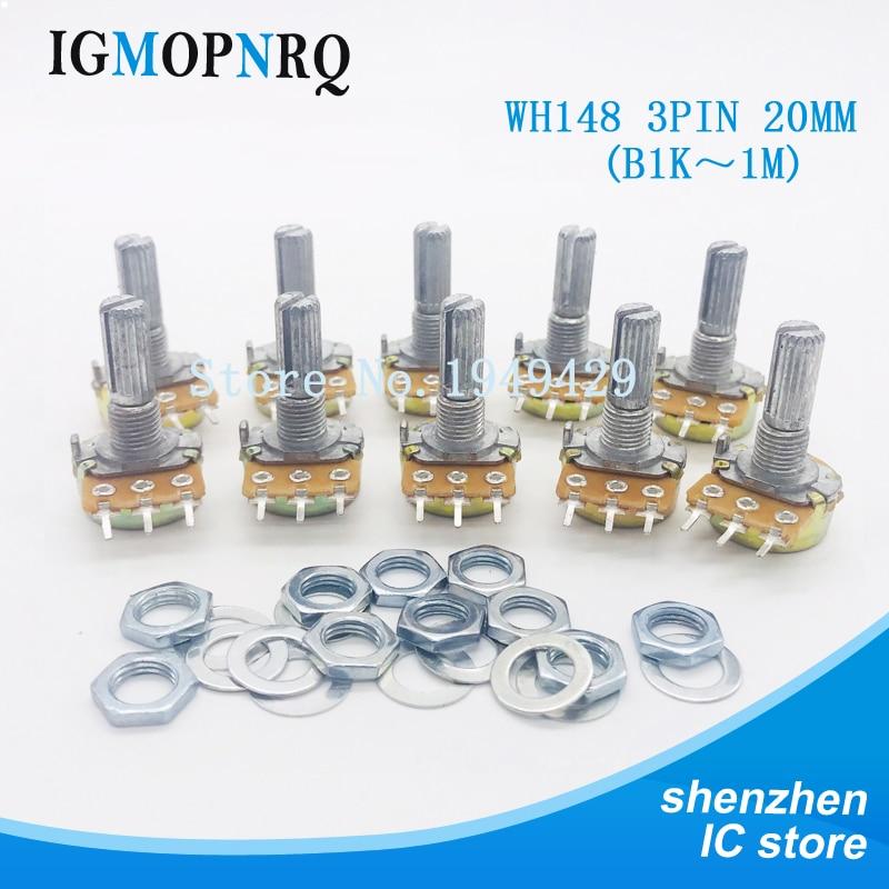 Набор потенциометров WH148, 10 шт., 20 мм вал, одно соединение B1K 2K 5K 10K 20K 50K 100K 250K 500K 1M ом, 3-контактный с гайкой и Washe