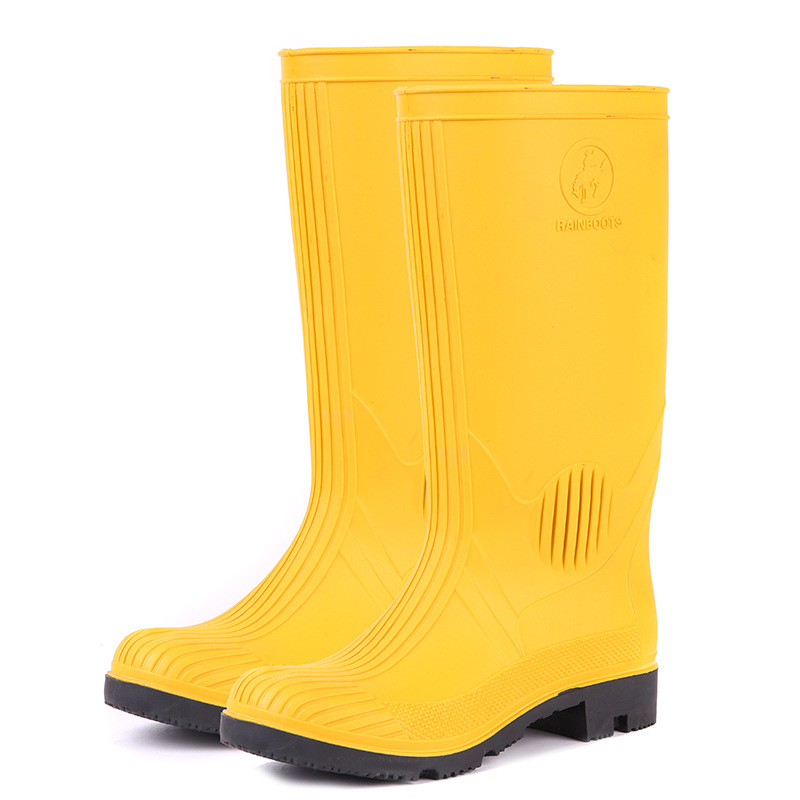 Italy-Labor Safety Rain Shoes Yellow Gong Kuang Xue Steel Top Steel Insole Protective Rain Smashing Anti Puncture Rain Boots