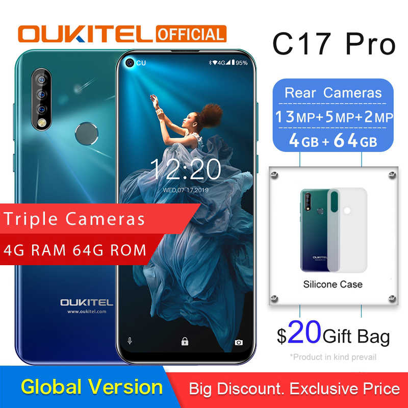 "OUKITEL C17 Pro 6,35 ""19,5: 9 Android 9.0 Handy MTK6763 Octa Core 4G RAM 64G ROM Dual 4G LTE Hinten Triple Kameras smartphone"