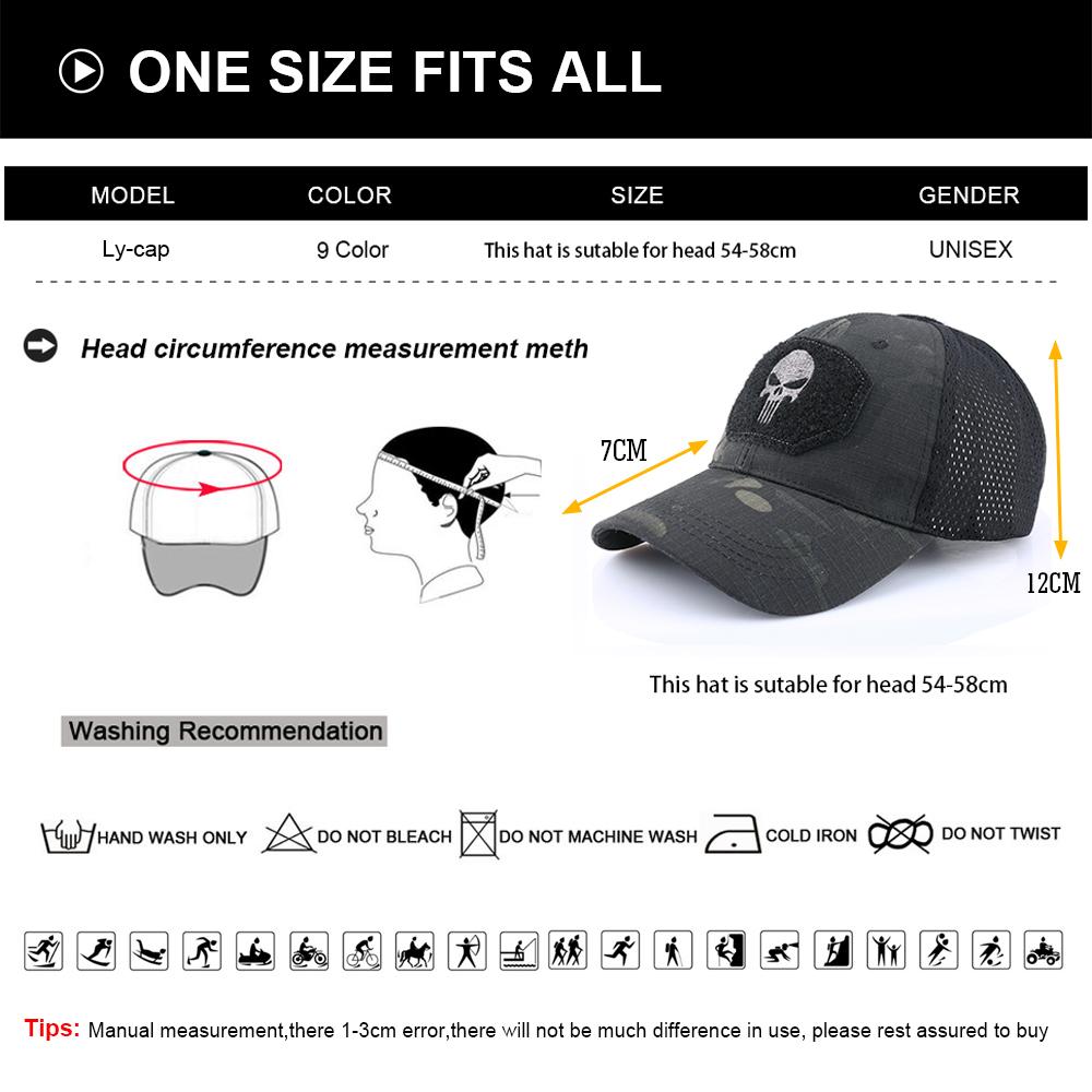 Skull Tactical Military Airsoft Cap Adjustable Breathable Sun Visor Trucker Hat Mesh Hunting Hiking Baseball Skeleton Snapback 16