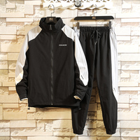 Korean Hip Hop Men Sweatshirt Black Casual Zipper Loose Tracksuit Men Long Sleeve Streetwear Mens Clothes Set Large Size B60