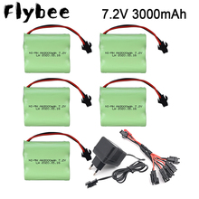 7.2v NiMH Battery For Rc toys Car RC Tanks RC Trains RC Robot RC Boat RC Gun AA 7.2 v 3000 mah Rechargeable Battery + Charger