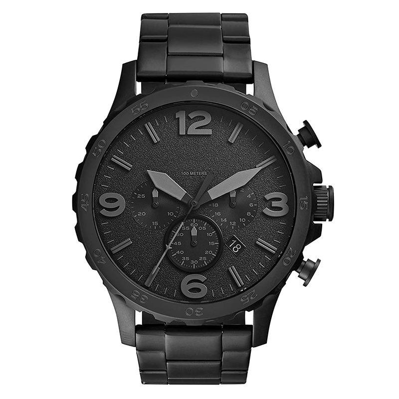 Men Watch Nate Chronograph Black Stainless Steel Watch Black Dial Quartz Metal Casual Watch JR1401
