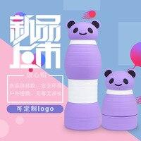 Tazas plegables de silicona vaso retráctil portátil lv xing ping Panda Head Cover Cartoon botella deportiva de gran capacidad|Botellas de deporte| |  -