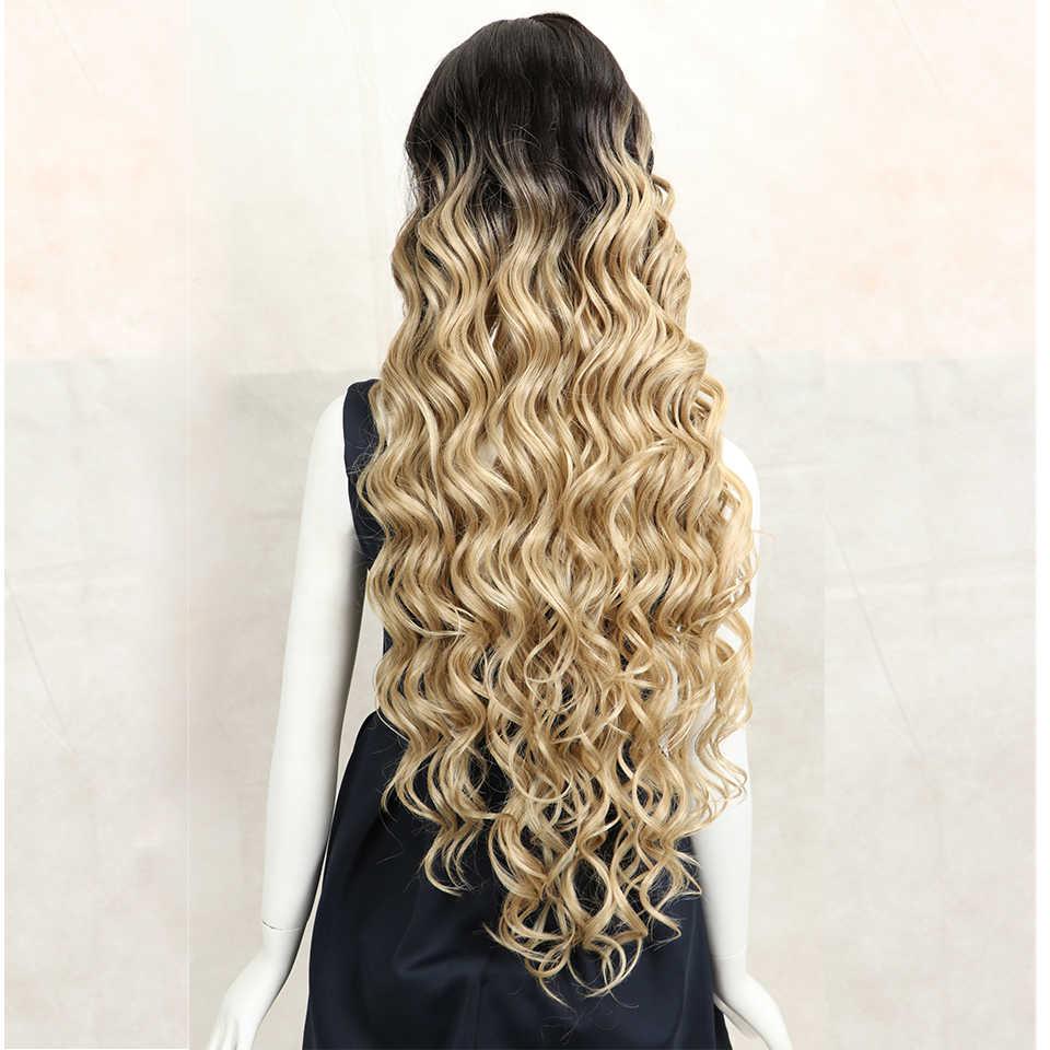 Magie 42inch Synthetische Spitze Vorne Perücke Tief Gewellte Perücke Für Frau Lange Haar Perücken Schwarz 613 Blonde Spitze Vorne perücke Hitze Beständig Haar