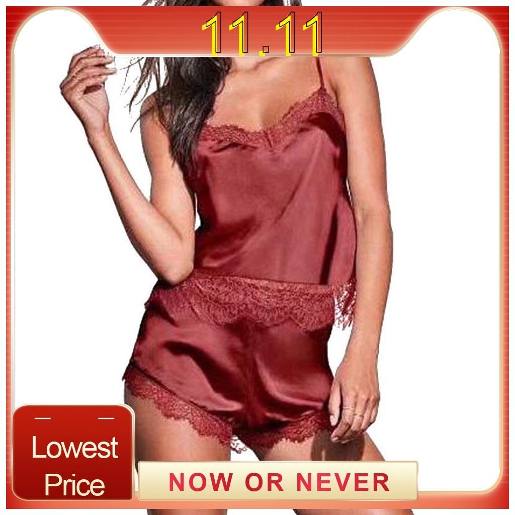 Women's Sleepwear Sexy Satin Pajama Set Lace V-Neck Pyjamas Sleeveless Cute Cami Top and Shorts pizama damska