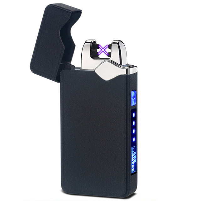Windproof USB Touch Dual Arc Electric Lighters Pulse Plasma Lighter Glossy Black