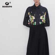 ROHOPO White Polk Dot Floral Black Long Sleeve Blouse Top Chic Tops Blusa #9509