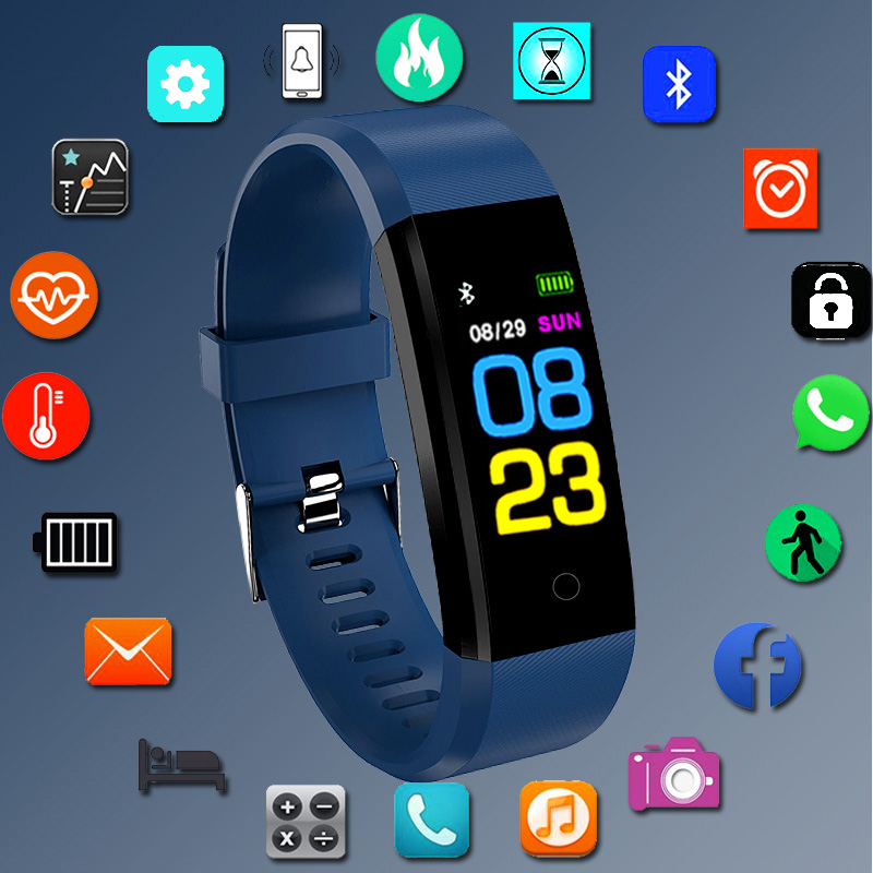 Sport Fitness Silicone Digita Watch Men Bluetooth Pedometer Heart Rate Monitor Men Clock Running Digital Watches For Android IOS