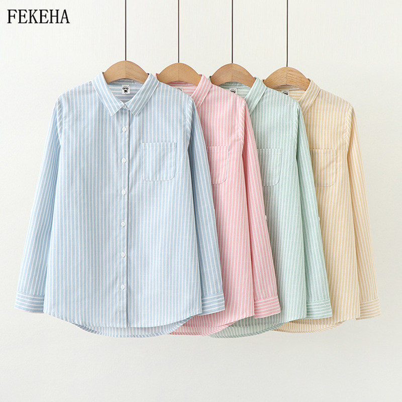 Striped Blouses Women Shirts And Tops Casual Cotton Long Sleeve Blue Office Lady Blusas Loose Outwear 2020 Spring