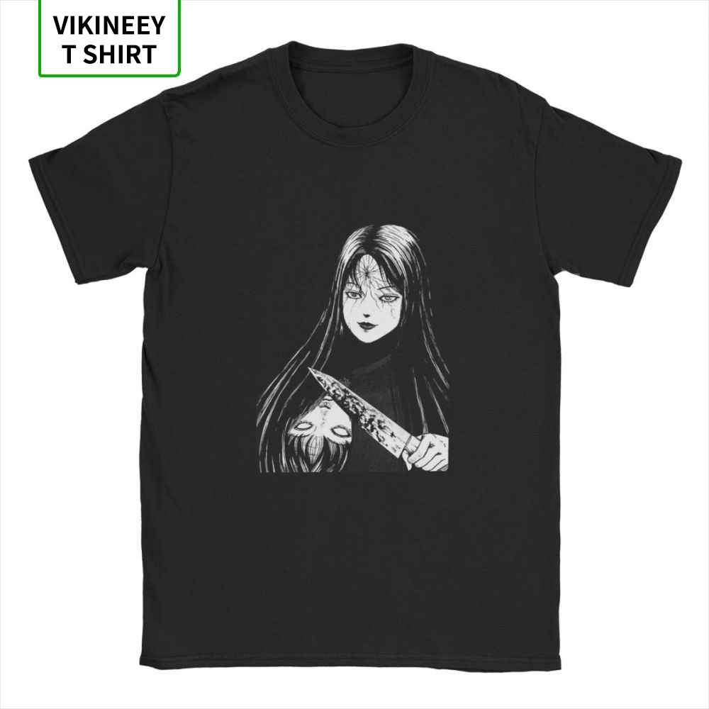 Junji Ito Men T Shirt Tomie Japanese Kago Manga Horror Tomie Harajuku Crazy Tees Short Sleeve T-Shirts Cotton EU Size Tops