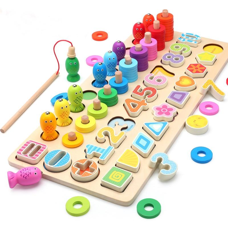 Montessori Educational Wooden Toys For Children Kids Busy Board Math Fishing Preschool Wooden Montessori Toys Count Geometric