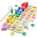 Montessori brinquedos educativos de madeira para crianças placa ocupada matemática pesca pré-escolar montessori brinquedos contagem geométrica