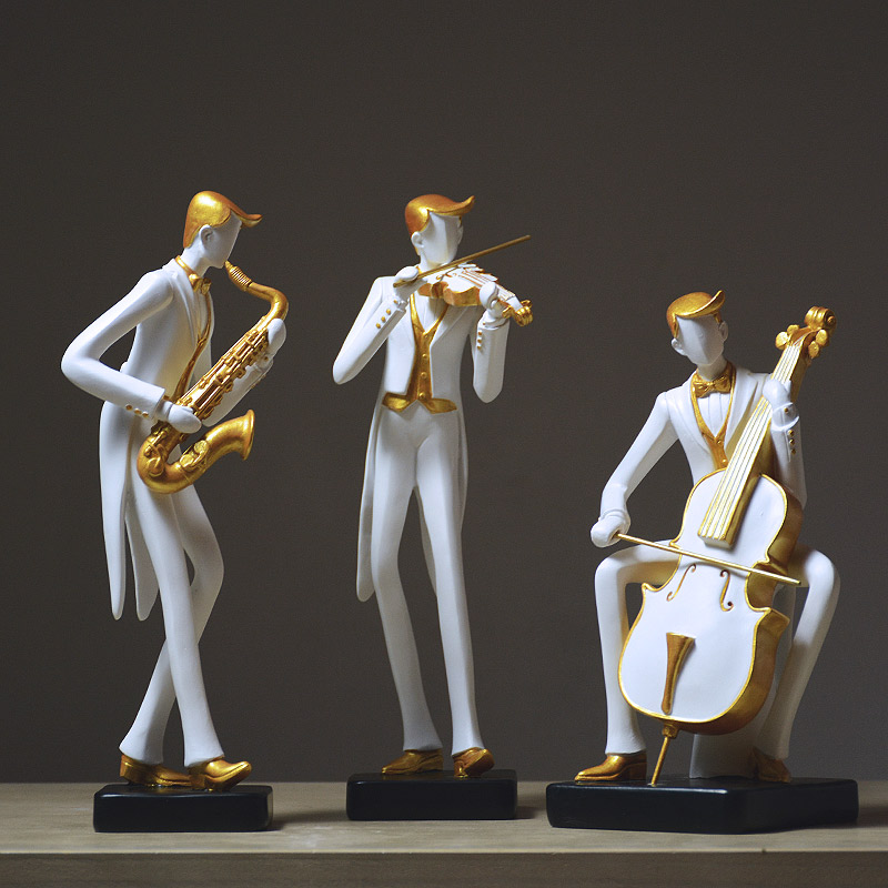 Creative Musical Instrument Violin Piano Cello Band FigurineArt Musician Figures Statue Resin Craft Bar Home Decorations R4119