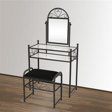Heart Shaped/Simple/Retro Leaf Pattern Iron Decoration Dresser with Rectangular Dressing Stool Black With Mirror