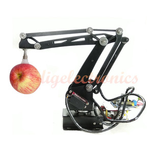 Arma robô controlador de brinquedo, metal preto 3 dof, robótica, braço, brinquedo, controlador com servo, educação robótica, kit diy para arduino