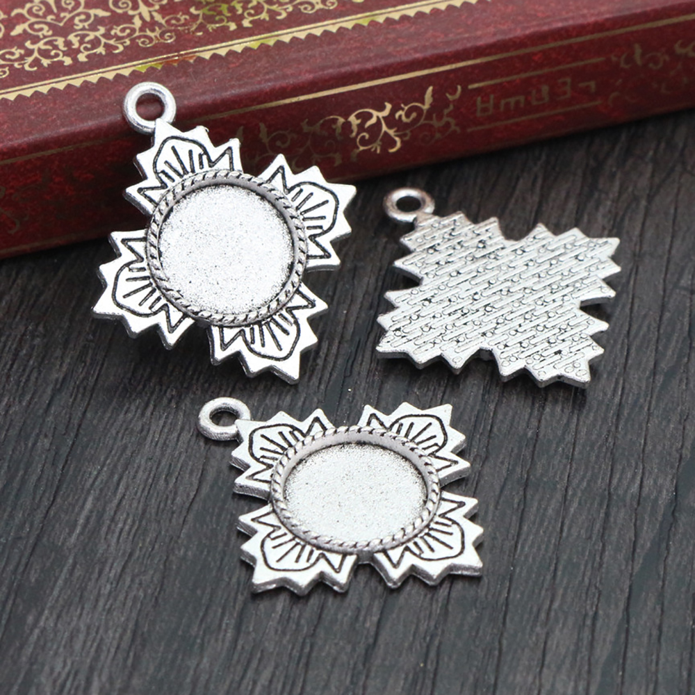 16pcs 12mm Inner Size Antique Silver Plated Fashion Style Cabochon Base Cameo Setting Charms Pendant (A2-09)