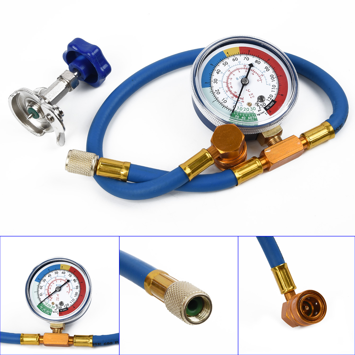 R134A R12 Hose Blue Air Conditioning Recharge Measuring Kit Gas Gauge Equipment Plastic Metal Accessory Practical