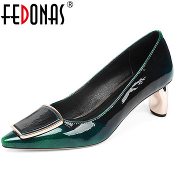FEDONAS Button Decoration Spring Summer Patent Leather Thick Heels Women Pumps Point Toehigh Quality New 2020 Shoes Woman