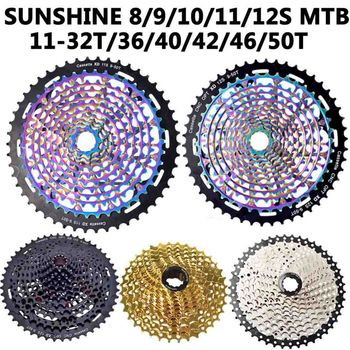 SUNSHINE MTB Cassette 8/9/10/11/12 Speed 11-32T/36/40/42/46/50T Mountain Bicycle Freewheel Bicycle Sprocket For Shimano/SRAM image