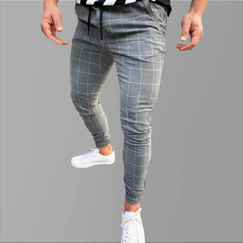Pantalones Pitillo Para Hombres Pantalon Informal De Hip Hop A Cuadros Ropa De Calle Gris Ajustados Tacticos Pantalones Informales Aliexpress