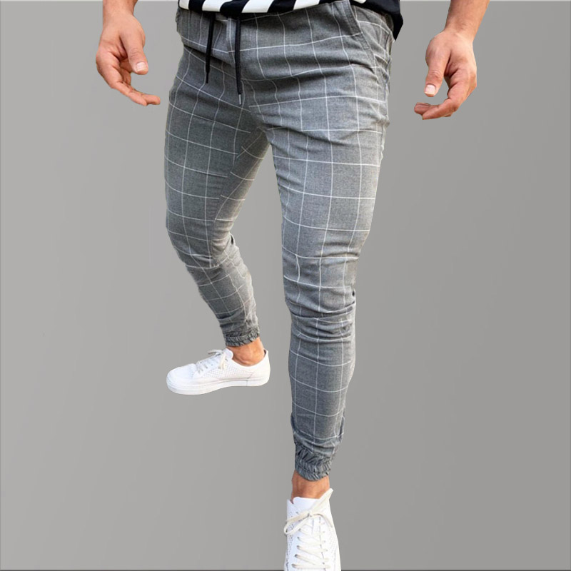 Hip Hop Skinny Pants Men Causal Chinos Plaid Pants Men Joggers Grey Streetwear Pants Slim Fit Tactical Trousers For Men