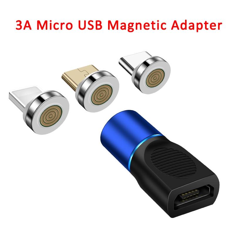 3A Магнитный Micro USB адаптер для быстрой зарядки, Micro USB Женский конвертер для iPhone Xiaomi Redmi HUAWEI SAMSUNG S7 S6 Edge QC3.0|Переходники и адаптеры|   | АлиЭкспресс