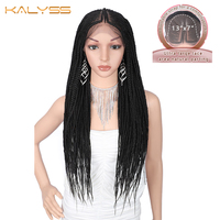 Kalyss 29 inches 13x7 Braided Wigs Synthetic Lace Front Fulani Cornrow Box Braid Wigs for Black Women Frontal Twist Braided Wig