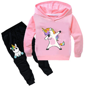 Image 4 - Kids Clothing Sets Cartoon unicorn Outffits  Clothes Suits Baby Boys Girls Hoodie full sleeve T shirt Pants Sport Clothing Sets