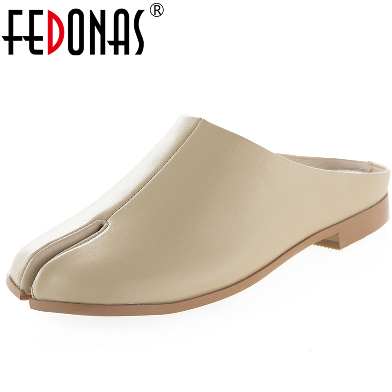FEDONAS Euro Style New Women Cow Leather Sandals Pinch Flip Flop Low Heel Fashion Novelty Concise Casual Slip-On Shoes Woman