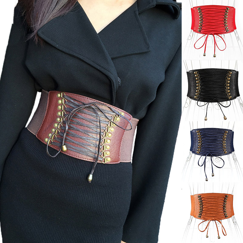 Women Ultra Super Wide Belt PU Elastic Corset Belt Fashion Wide Waist Belt Ladies Clothing Accesoories Female Decorations