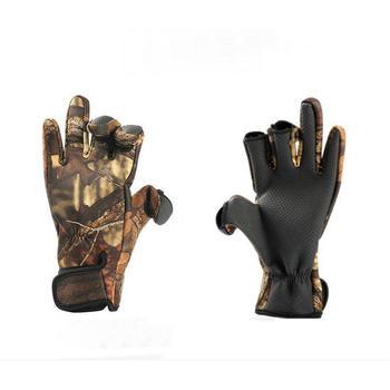 Outdoor Winter rękawice wędkarskie wodoodporne trzy lub dwa palce Cut antypoślizgowe wspinaczka utrzymuj ciepłe wędrówki do jazdy i na kemping rękawice tanie i dobre opinie CN (pochodzenie) Y7677 Trzy wycięcia na palce cycling gloves fingerless gloves gloves men carp fishing neoprene gloves