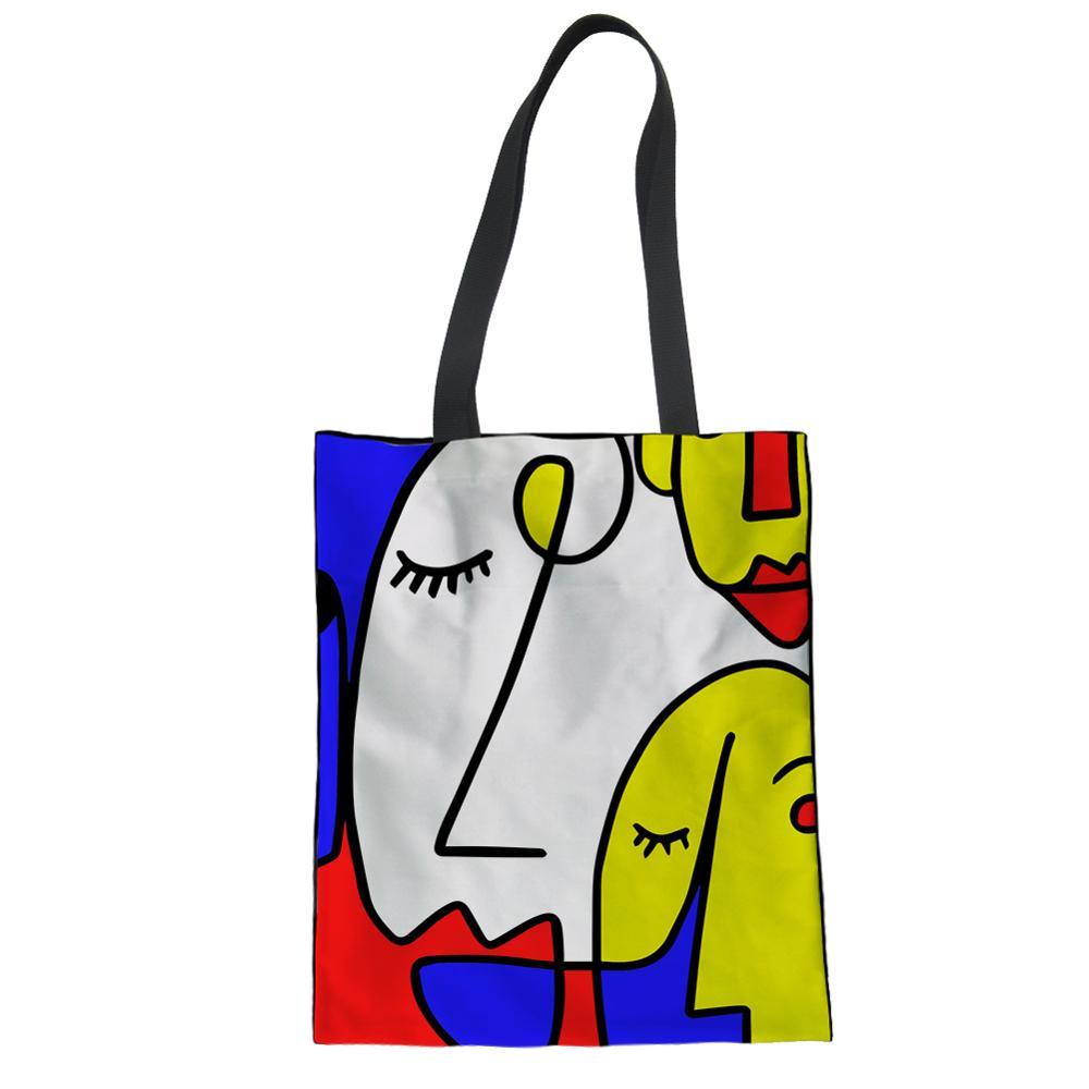 Bolsas de Compras Noisydesigns Famosa Pintura Feminina Lona Casual Tote Eco Amigável Mondrian Geometria Projetos Dropshipping 2020