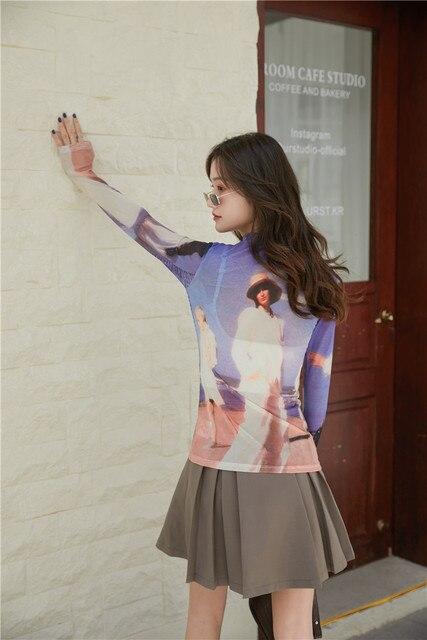 CHEERART 80s Clothes Vintage Long Sleeve Mesh Top Turtleneck T Shirt Women See Through Print Tshirt Graphic Tee Designer Fashion 5