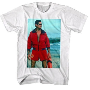 Baywatch David Hasselhoff Mitch Buchannon erkek T Shirt Tv La plaj cankurtaran Retro O boyun Tee gömlek