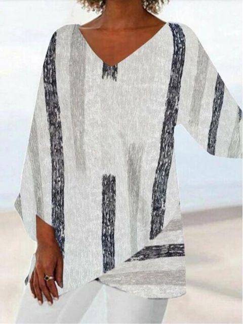 Women Casual Long Sleeve V-neck Striped Printed Irregular Hem Top Dress 2