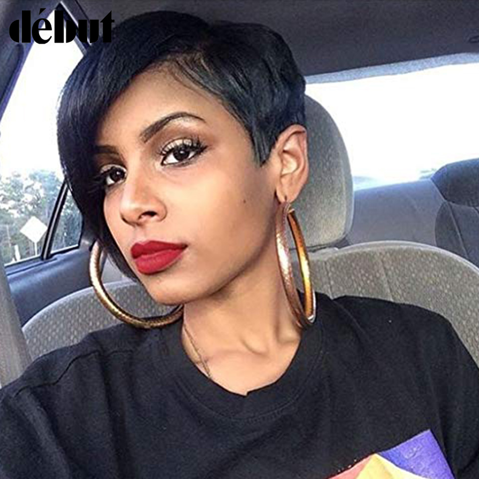 Debut Short Real Human Hair Wigs 100% Remy Brazilian Natural Hair Wig Nature Wave Colored Wigs Breathable Cheap Wigs For Mom