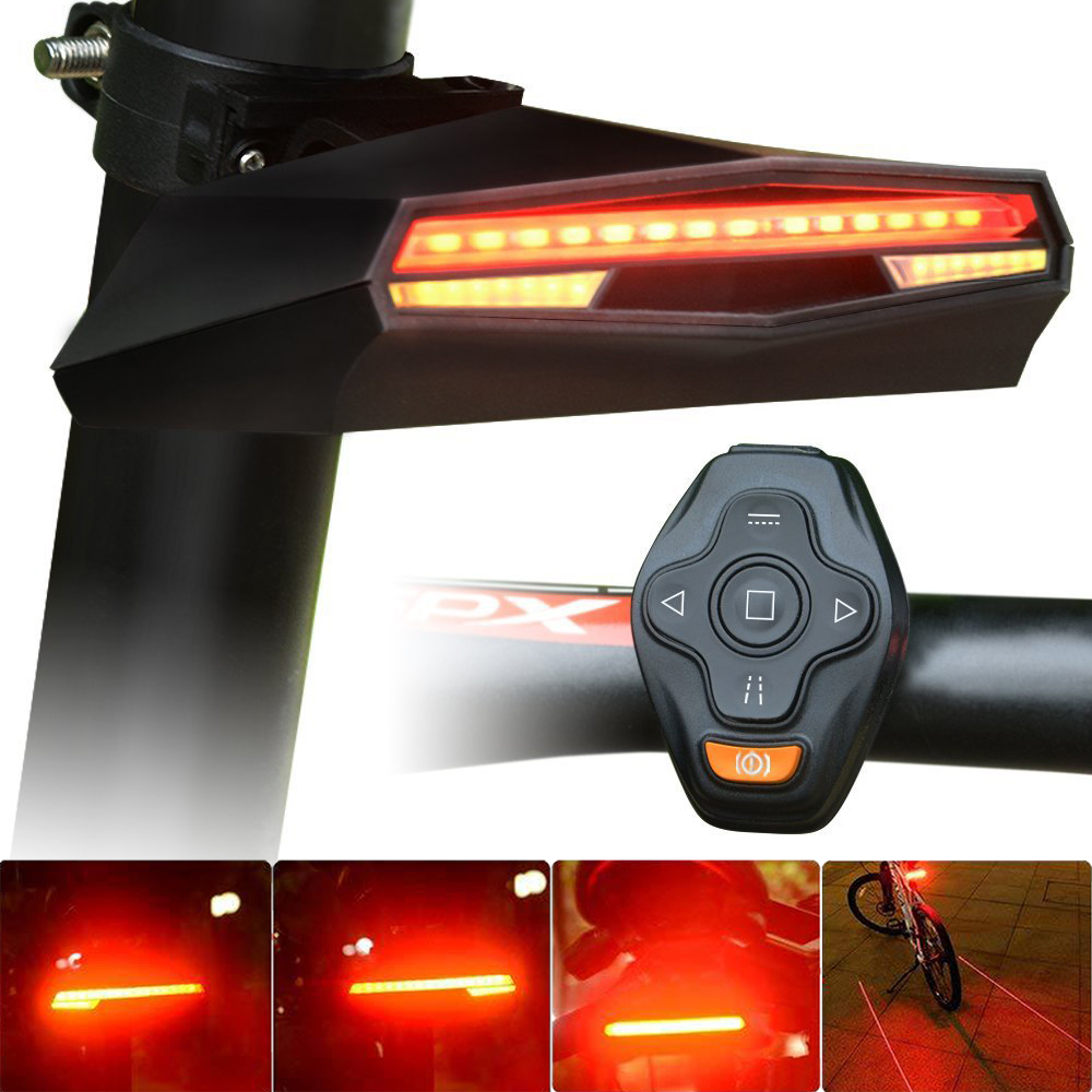 USB Rechargeable Bicycle Tail LED Light Rear Bike Light Remote Control Turning Lights Ground Lane Alert Cycling Turn Signal LED