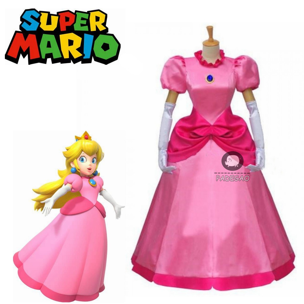 Cartoon Super Mario Princess Peach Pink Women Party Dress Cosplay Costume Custom Size
