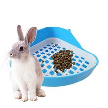 Rabbit Toilet Litter Tray,Small Animal Toilet Corner Potty, Pet Litter Trays Corner for Rabbit, Hamster (Blue)(China)