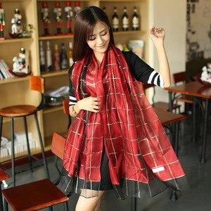 Image 5 - Elegant Women Cotton+Silk Scarves For Women Long Shawls Wraps Plaid Print Kerchief Hijab Scarf 190cm*70cm Neck Scarfs For Ladies