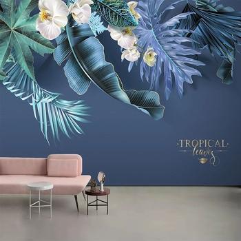 цена на Custom 3D Wall Mural Modern Tropical Plants Flower Wallpaper Living Room Bedroom Nordic Style Home Decor 3D Waterproof Stickers