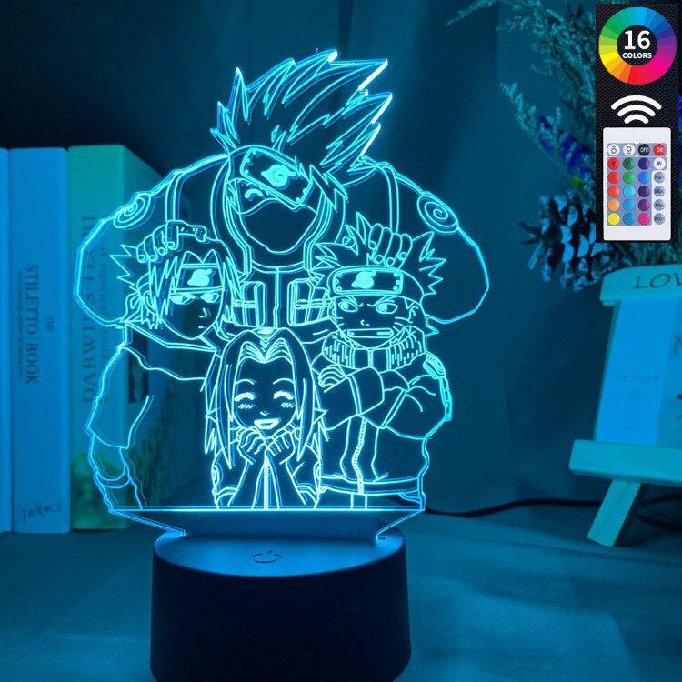3d Illusion Lamp Anime Naruto Uzumaki Kids 3d Lamp Team 7 Kakashi Hatake Child Bedroom Decor Colorful Nightlight Sasuke Uchiha